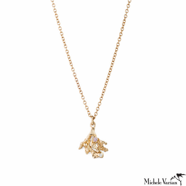 Coral Sea Fan Diamond Gold Necklace