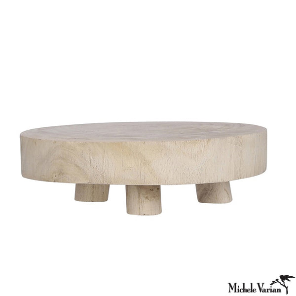 Medium Wabi Sabi  Wood Pedestal - Light Brown