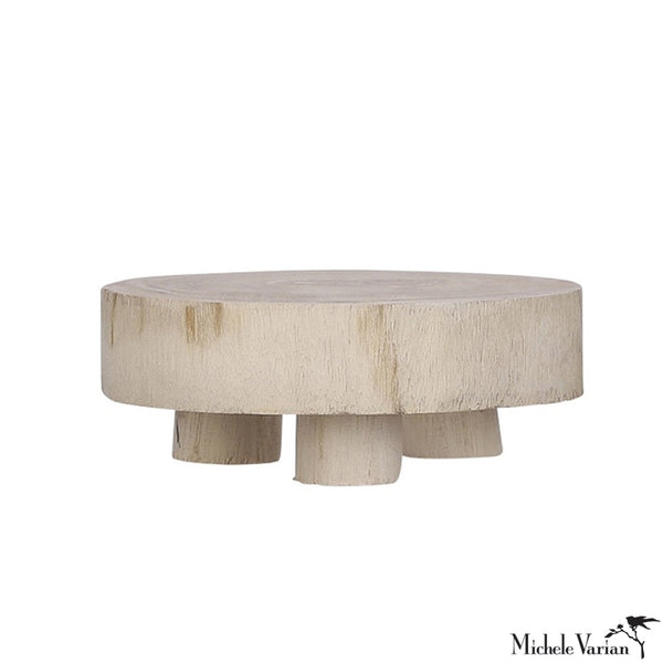 Small Wabi Sabi Wood Pedestal - Light Brown