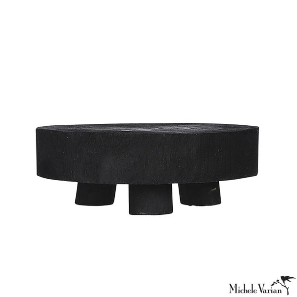 Small Wabi Sabi Wood Pedestal - Black