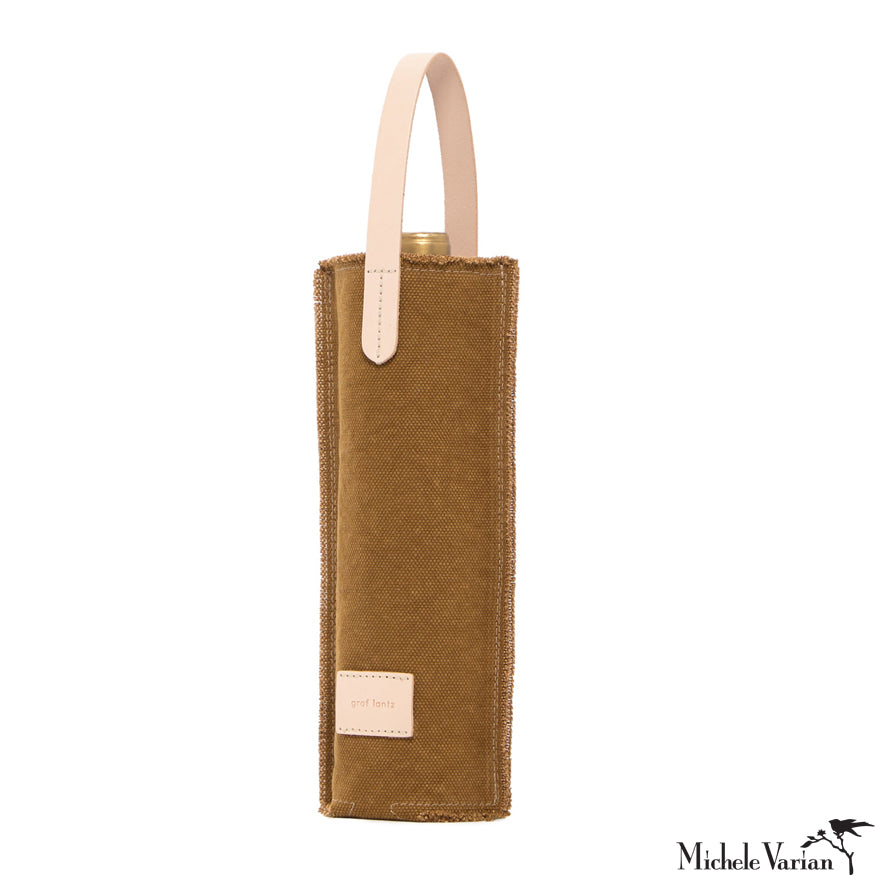 Canvas Wine Tote with Leather Handle