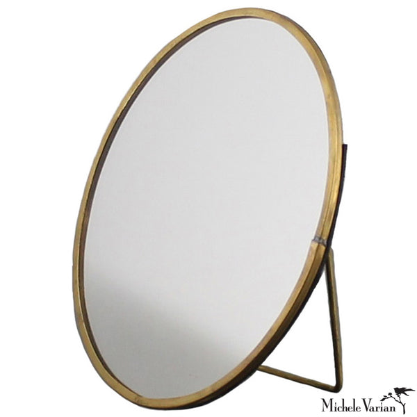 Round Brass Tabletop Mirror