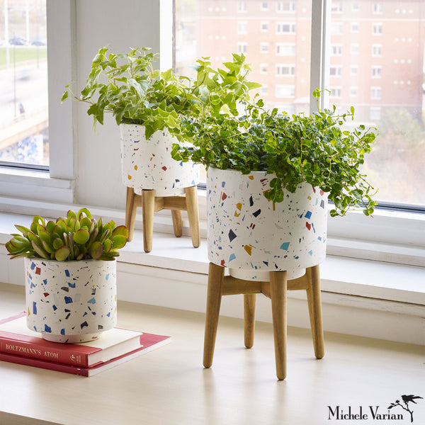 Small Blue Terrazzo Planter with Legs