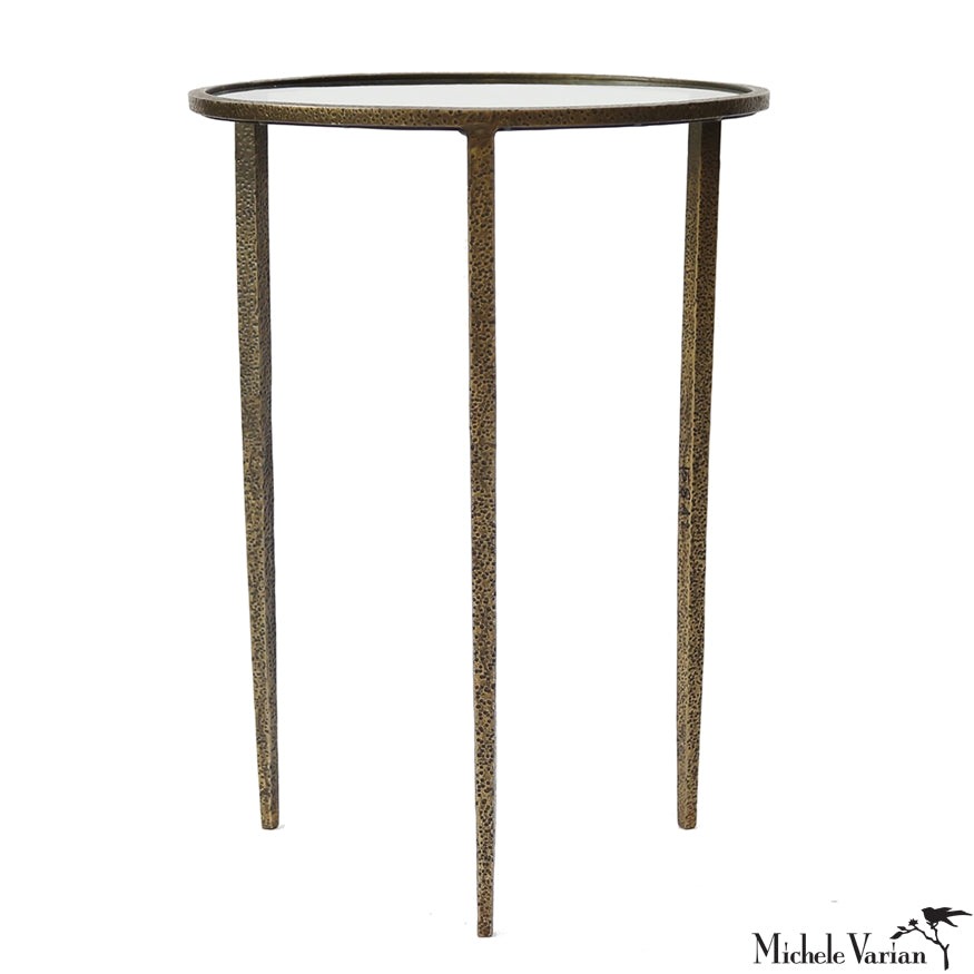 Three Legged Hammered Iron and Glass Side Table