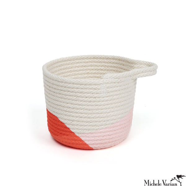 Stitched Cotton Rope Mini Basket Red Dip