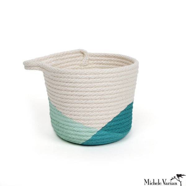 Stitched Cotton Rope Mini Basket Teal Dip
