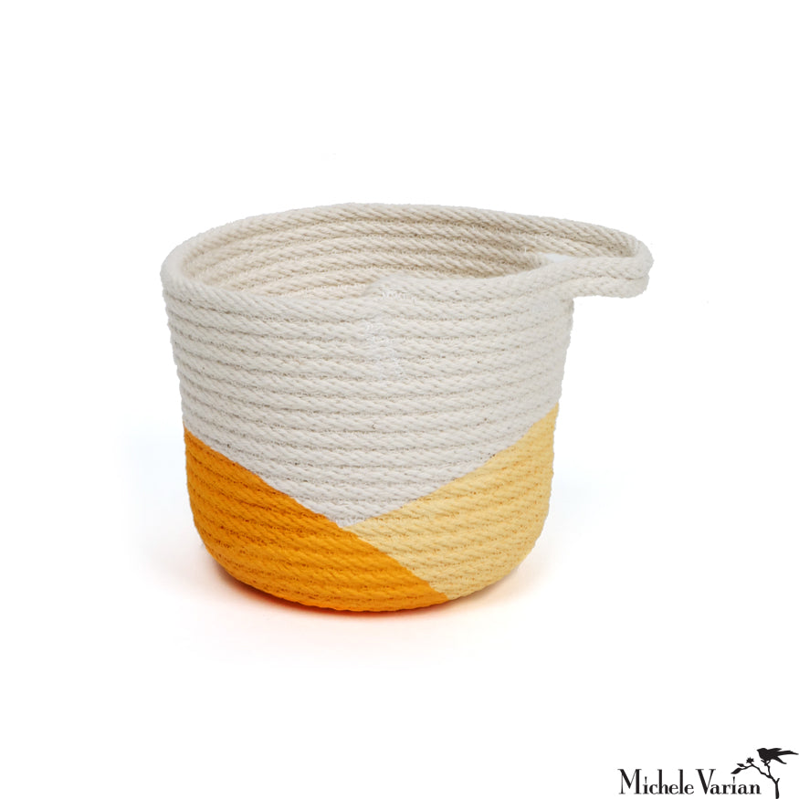 Stitched Cotton Rope Mini Basket Yellow Dip