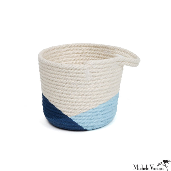 Stitched Cotton Rope Mini Basket Blue Dip