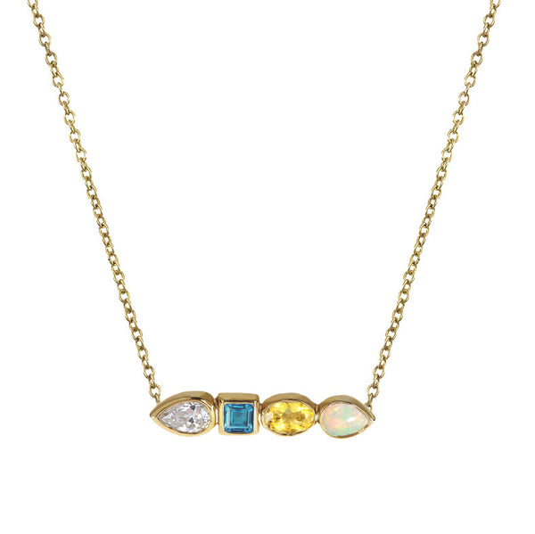 Multi Stone Bar Necklace
