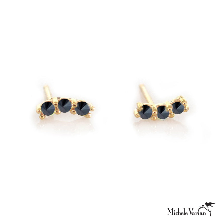 Black Diamond Curve Gold Earring