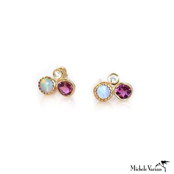 Tourmaline Opal and Diamond Cluster Earring