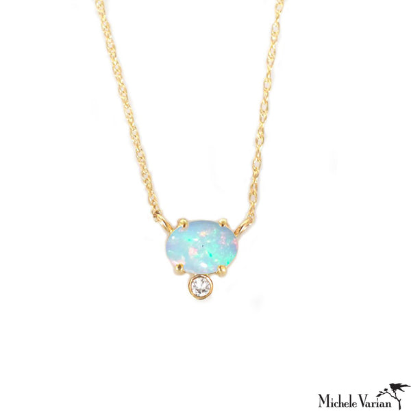 Opal and Diamond Gold Necklace