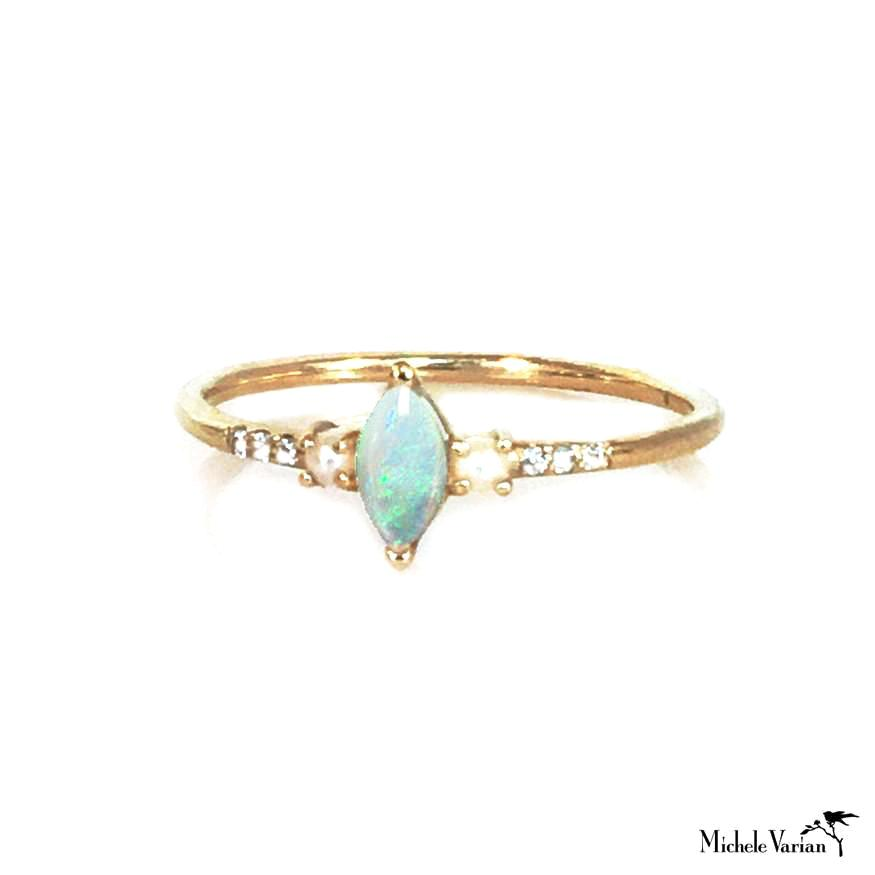Opal Pearl and Diamond Ring