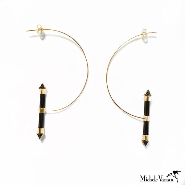 Black Tourmaline Gold Hoop
