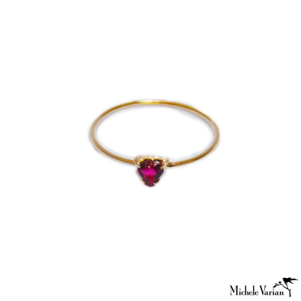 Heart Tourmaline Gold Ring