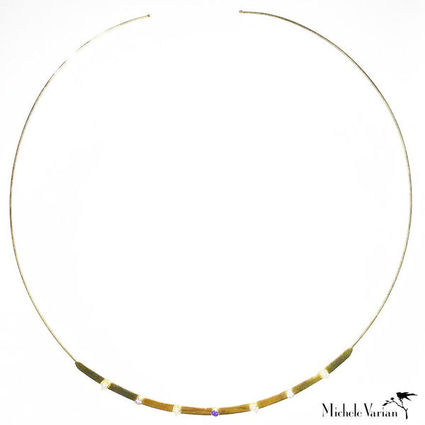 Multi Gem Gold Cuff Necklace