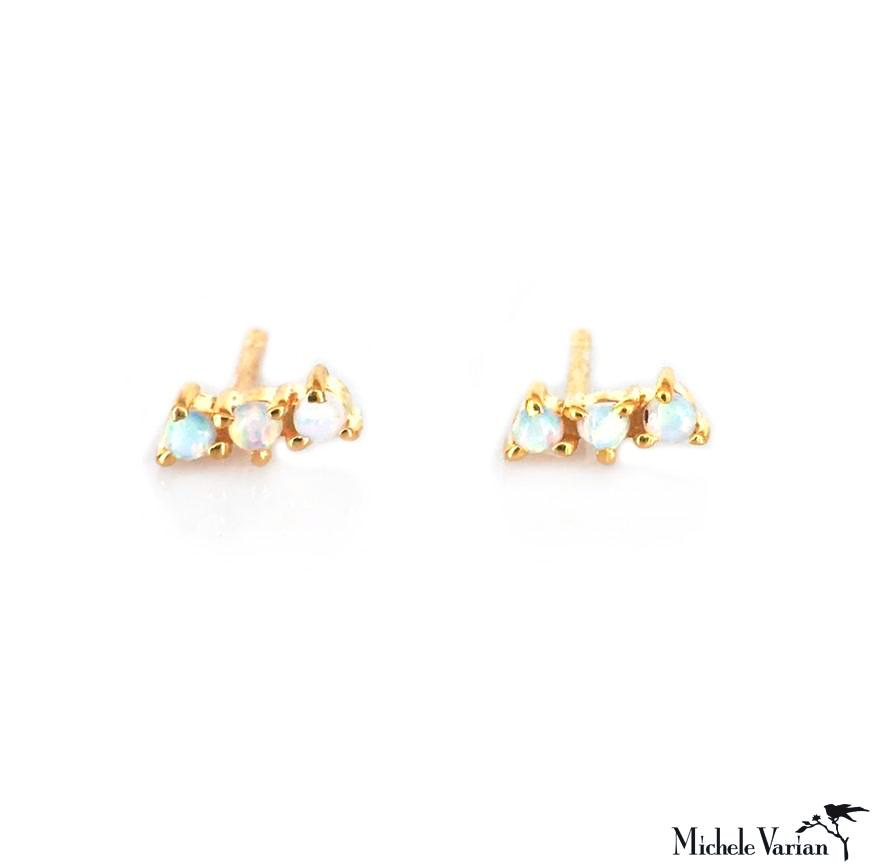 Mini Opal Curve Gold Earring