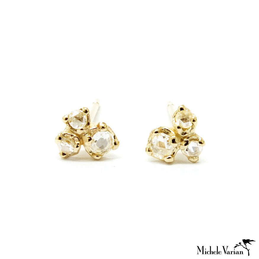 Rosecut Trio Gold Earrings
