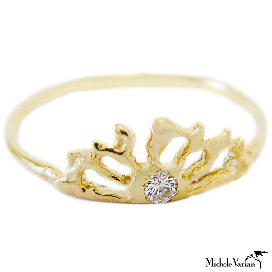 Diamond Gold Sun Ring