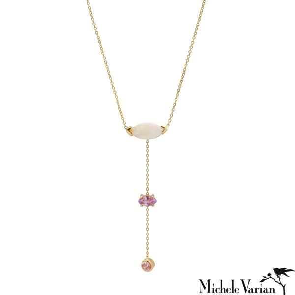 Three Layer Opal Amethyst and Sapphire Gold Lariat Necklace