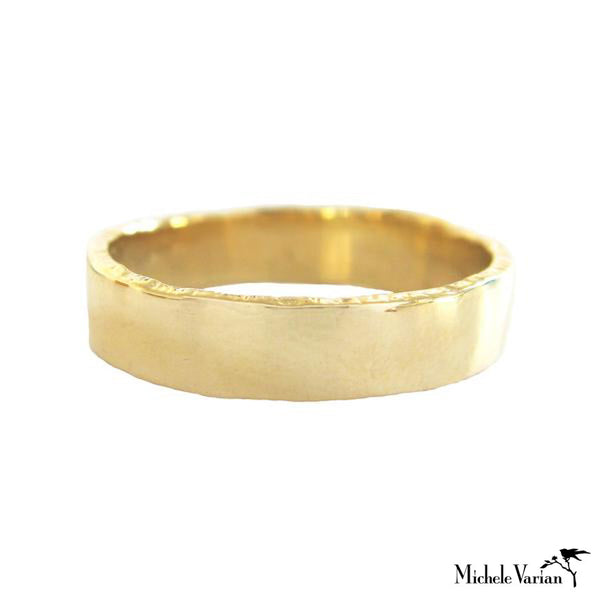 Wide Edged Gold Band Ring