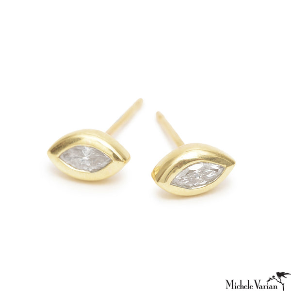 Bezel Set Marquise Diamond  Gold Stud Earrings