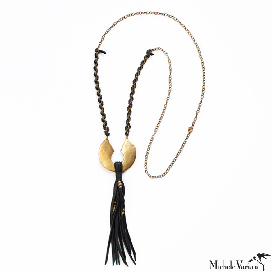 Brass and Leather Tassel Necklace