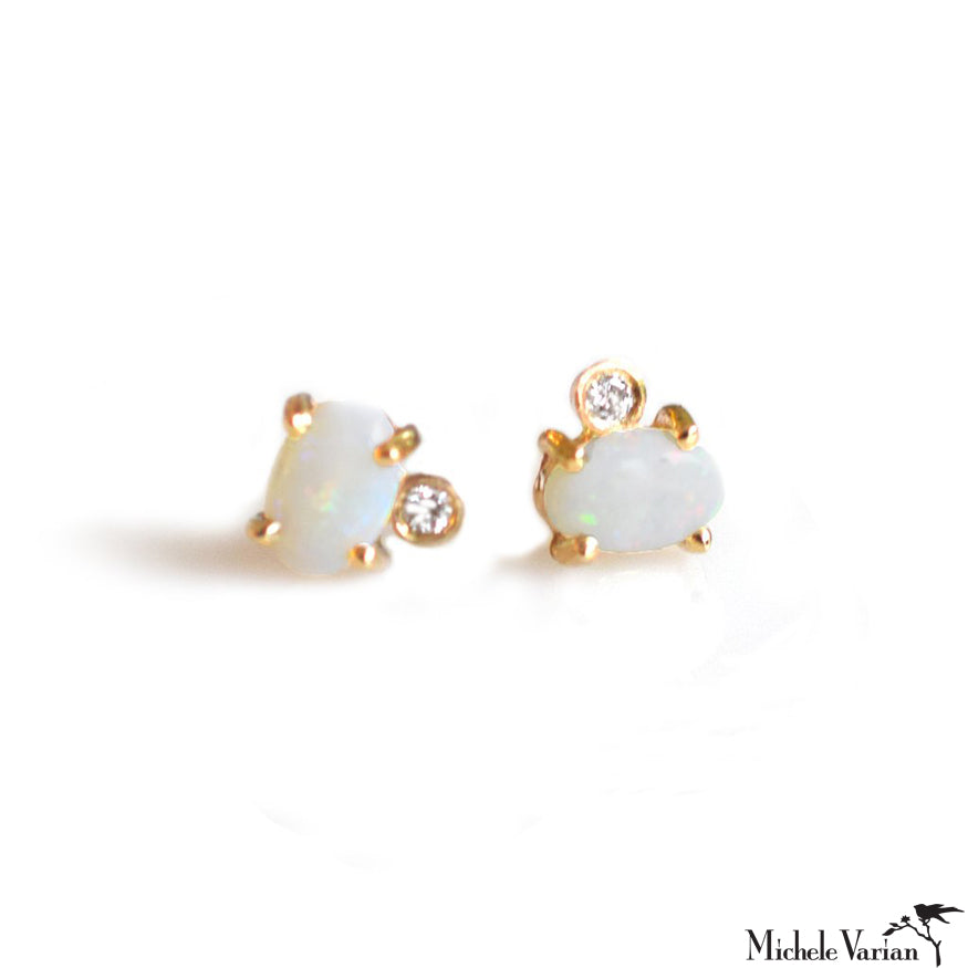 Opal and Diamond Gold Earring