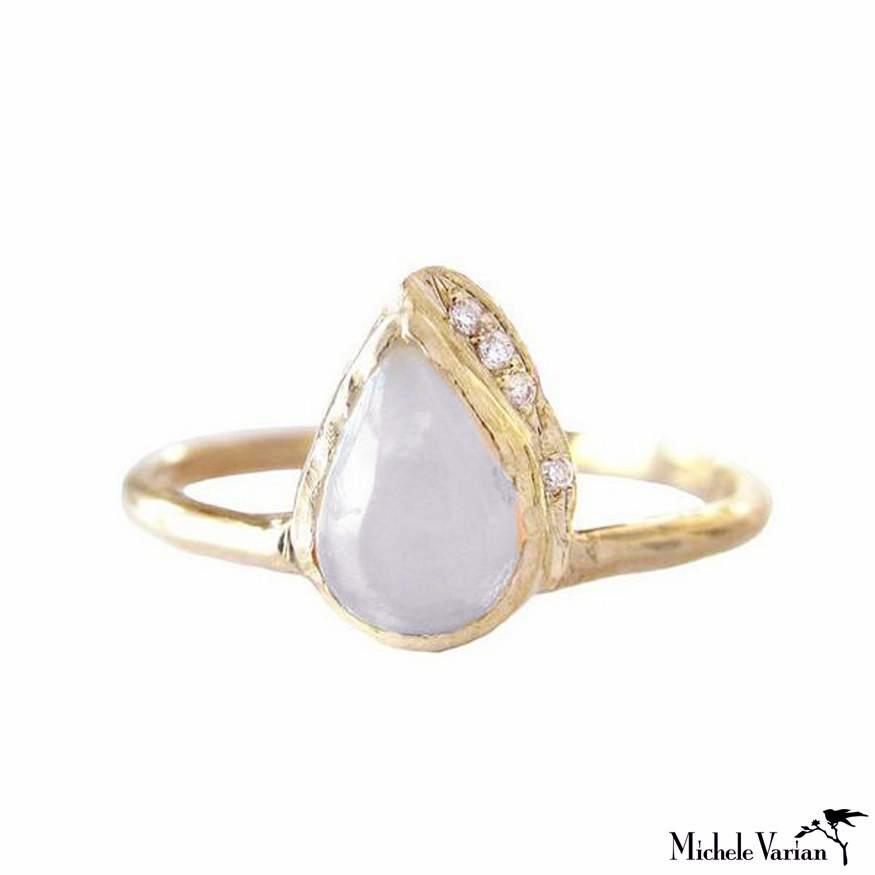 Rain Moonstone and Diamond Ring