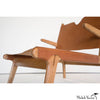 Simple Leather and Oak Lounge Chair Low