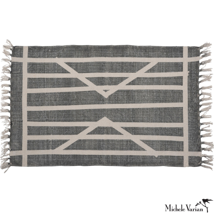 Centerpoint Stripe Block Print Cotton Rug 2x3