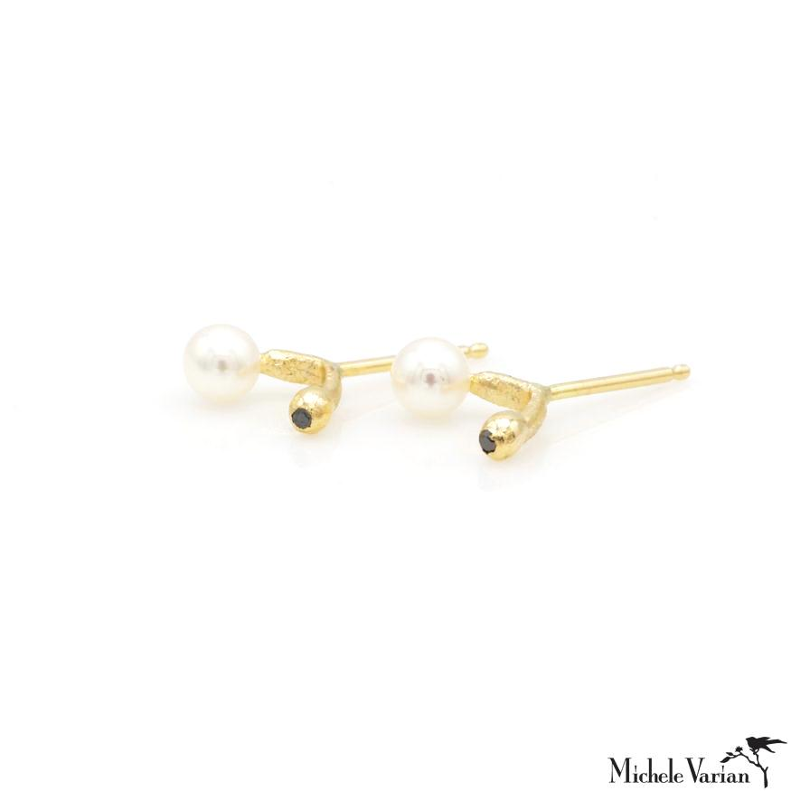 Pearl and Black Diamond Gold studs