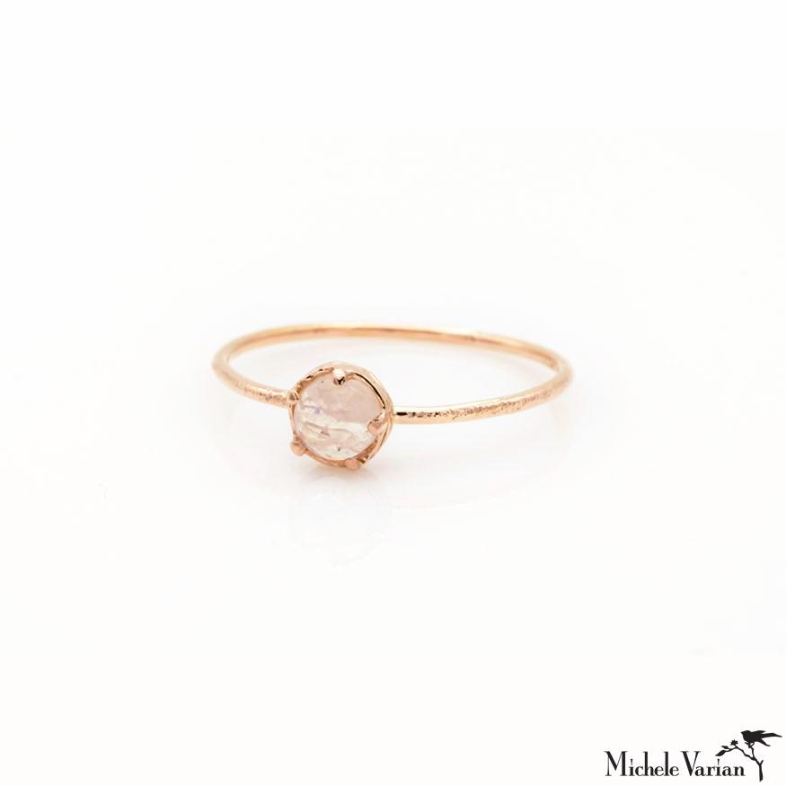Rose Gold Dainty Moonstone Ring
