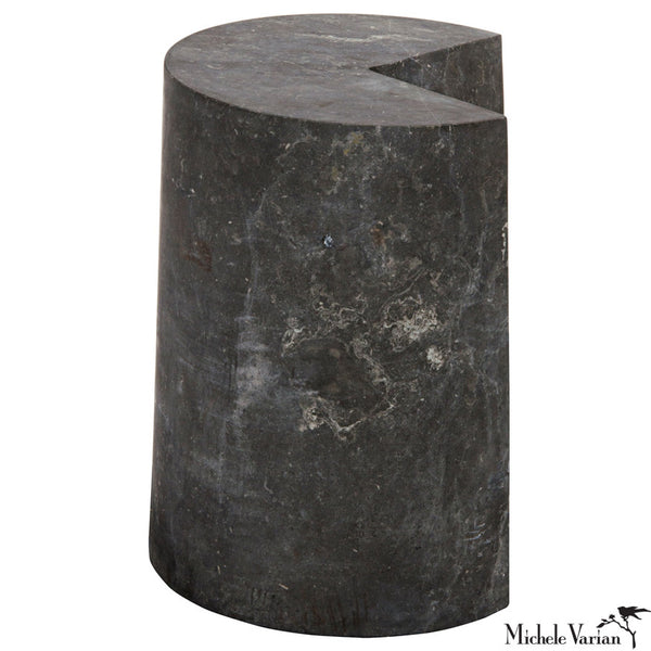 A Slice Missing Black Marble Side Table