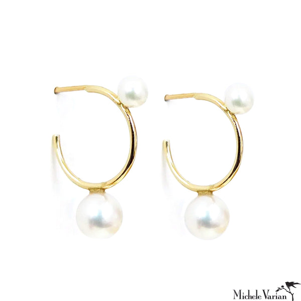 Akoya Pearl Gold Hoop Earrings