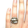 Medium Grey Lady Cameo Ring in Oxidized Silver