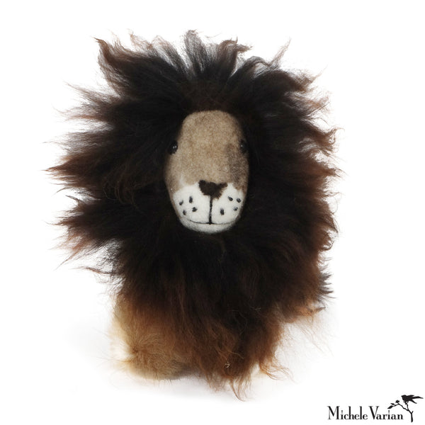 Alpaca Fur Small Lion Toy Chocolate