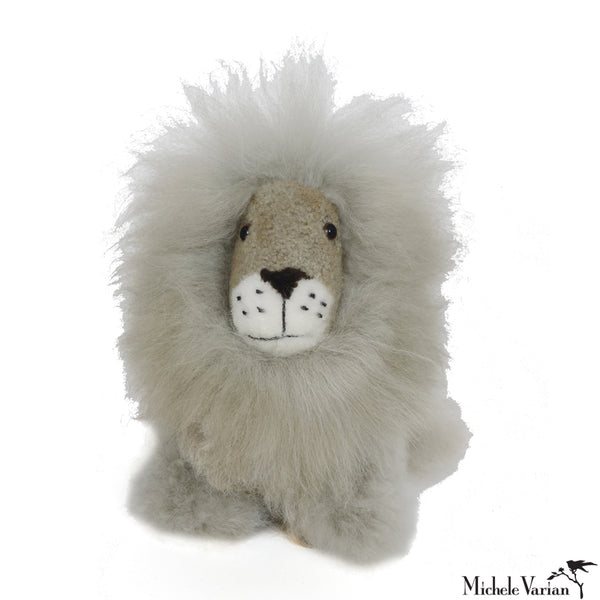 Alpaca Fur Small Lion Toy Grey