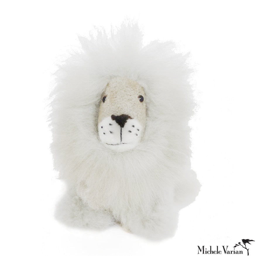 Alpaca Fur Small Lion Toy White