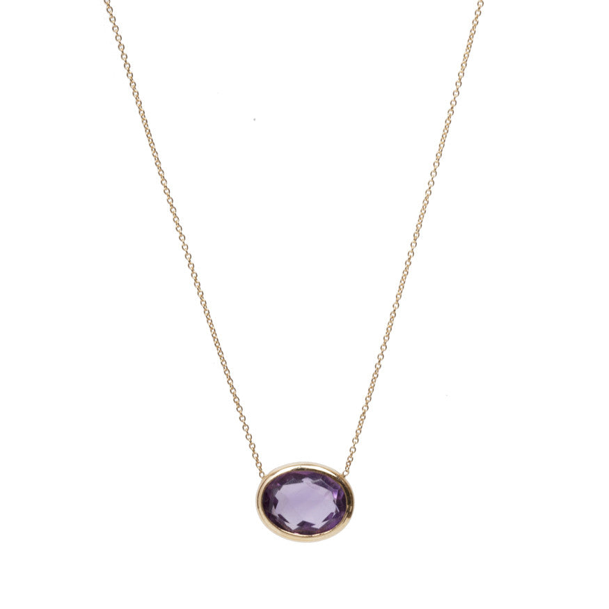 Simple Amethyst Oval Necklace