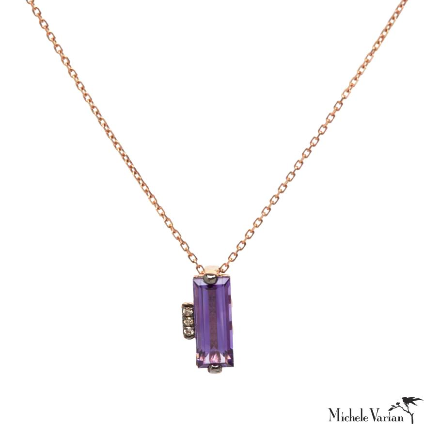 Rose Gold Amethyst Baguette Necklace
