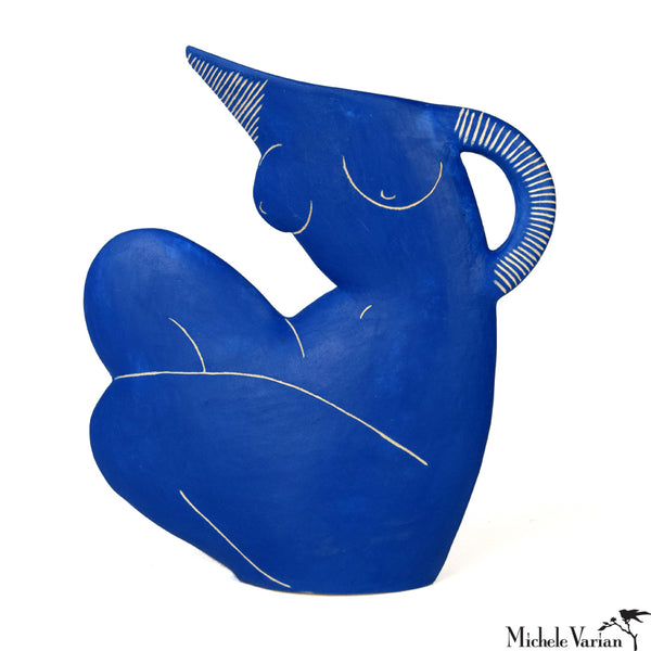 Crouched Nude Blue Earthenware Pitcher