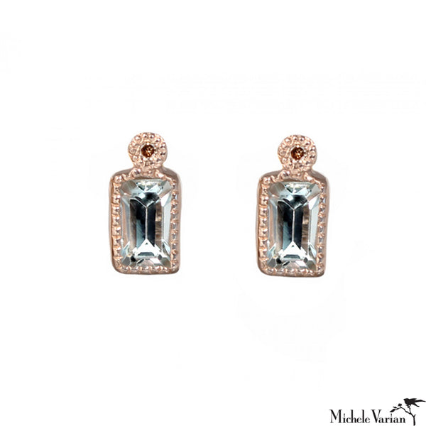 Milgrain Aquamarine Rose Gold Stud Earrings