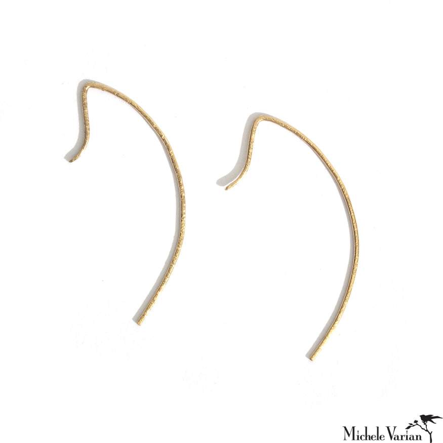 Hammered Gold Arc Earrings