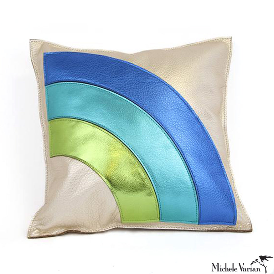 Rainbow Arc Blue and Green Metallic and Pearlized Leather Pillow