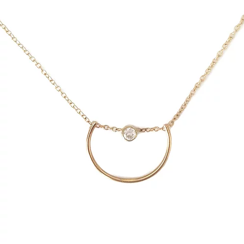 Arch and Diamond Gold Necklace