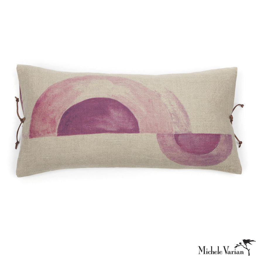 Printed Linen Pillow Arcs Plum 12x22