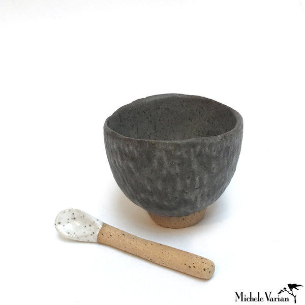 Ash Glaze Clay Salt Cellar With Spoon