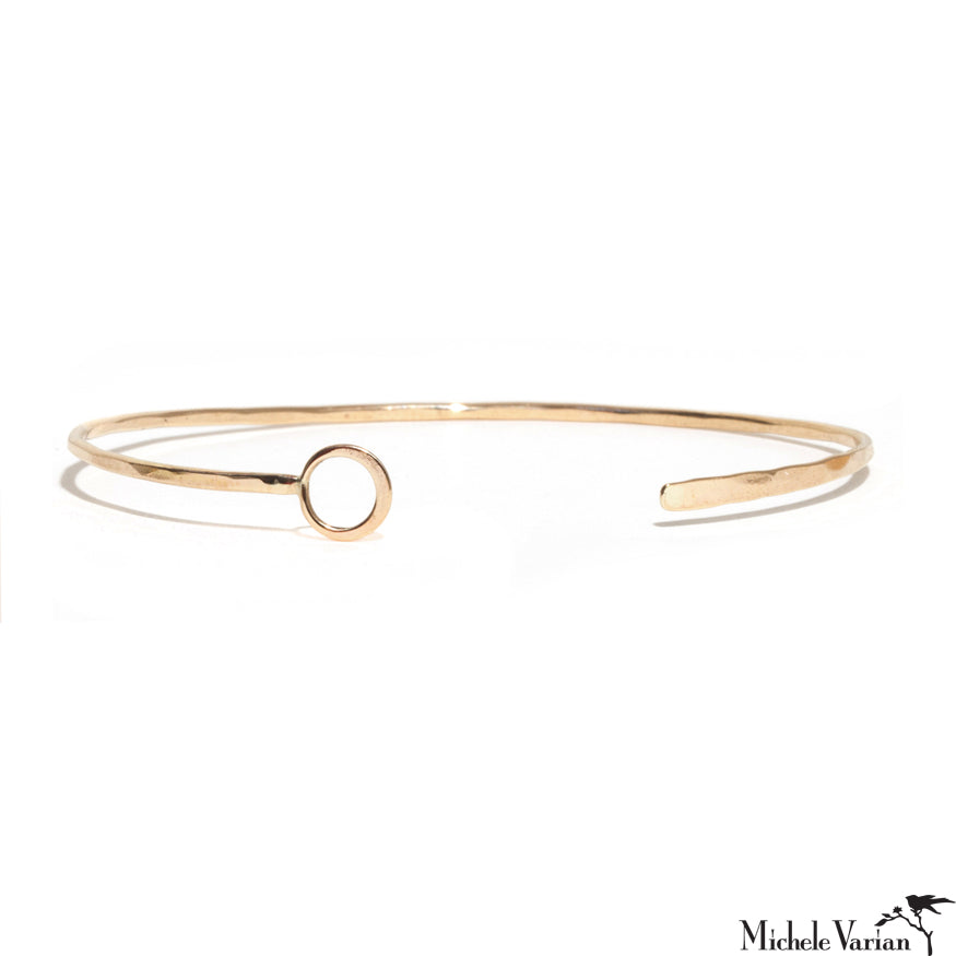 Gold Off Center Single Ring Cuff Bracelet