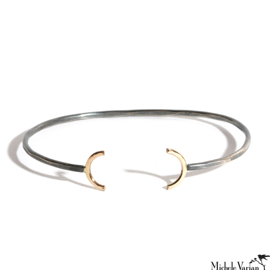 Gold and Silver Open Semi Circle Cuff Bracelet